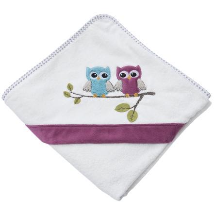 Be Be 's Collection Badehåndklæde med hætte Ugler fuchsia 80 x 80 cm