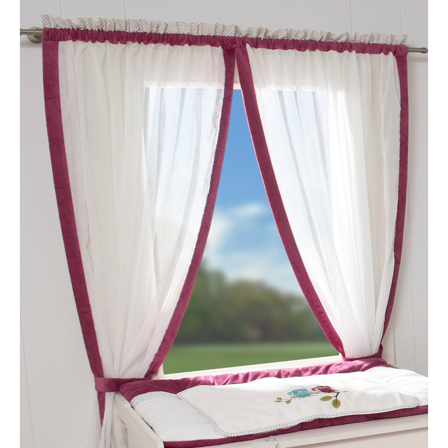 Be 's Collection curtain 2 loop chusty sowy fuchsia 100 x 150 cm