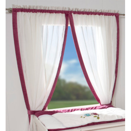 Be Be Be `s Collection cortina 2 bufandas bucle búhos fucsia 100 x 240 cm