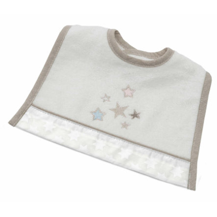 Be 's Mini Collection Velcro Bib Glitter Glitter Stars ecru