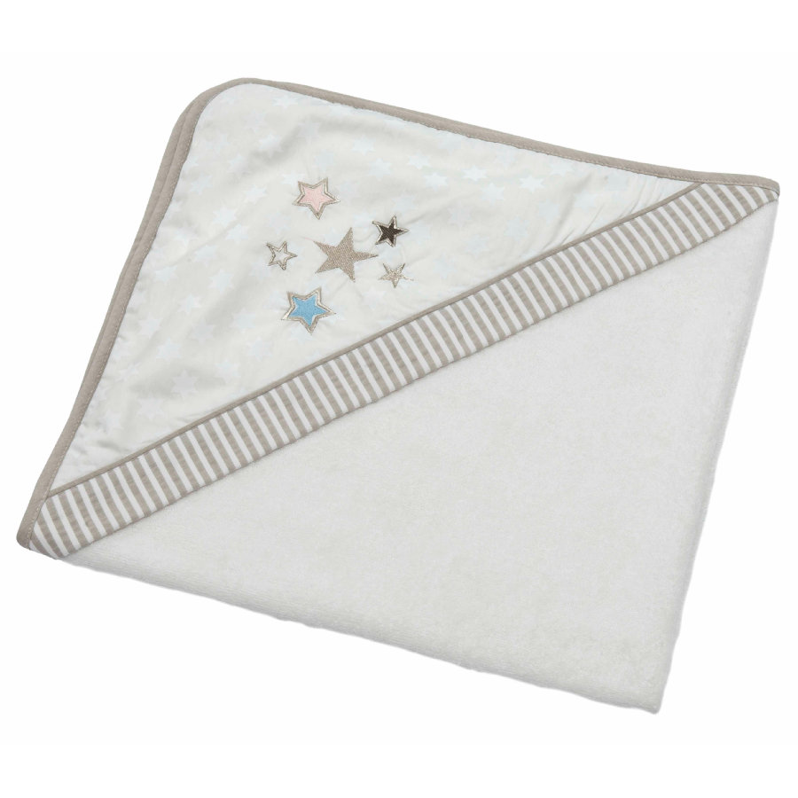 Be 's Collection hooded towel glitter stars ecru 80 x 80 cm