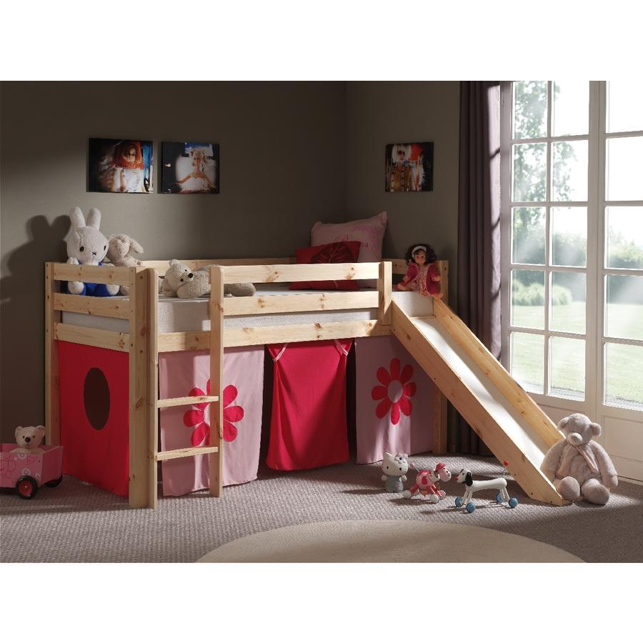 VIPACK dětská postel se skluzavkou Pino nature se závěsem Pink Flower