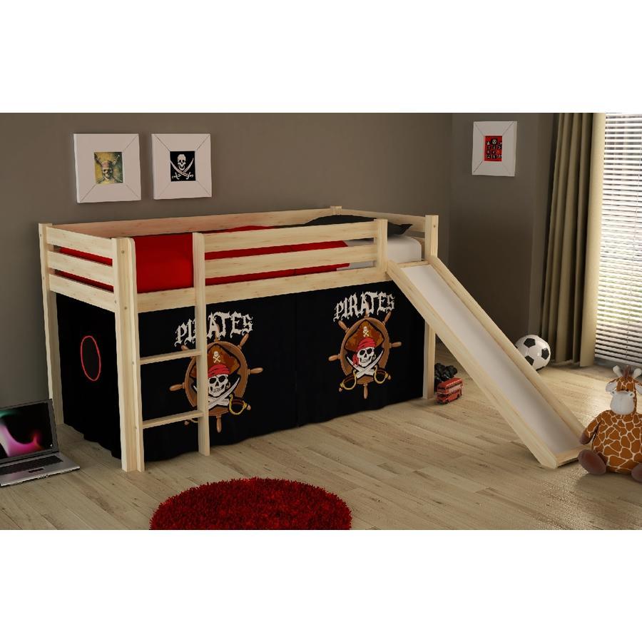 VIPACK Dětská postel se skluzavkou Pino nature se závěsem Piráti