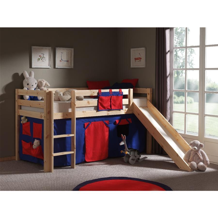 VIPACK Dětská postel se závěsem a skluzavkou Pino Dominos
