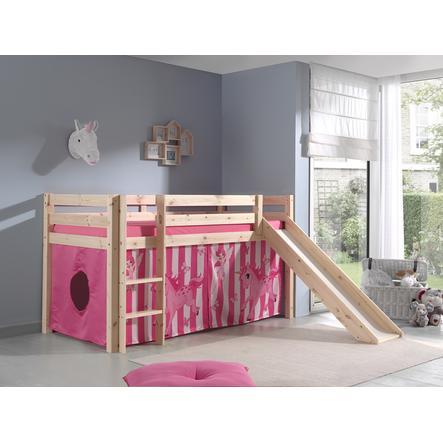 VIPACK Dětská postel se skluzavkou Pino nature se závěsem koně