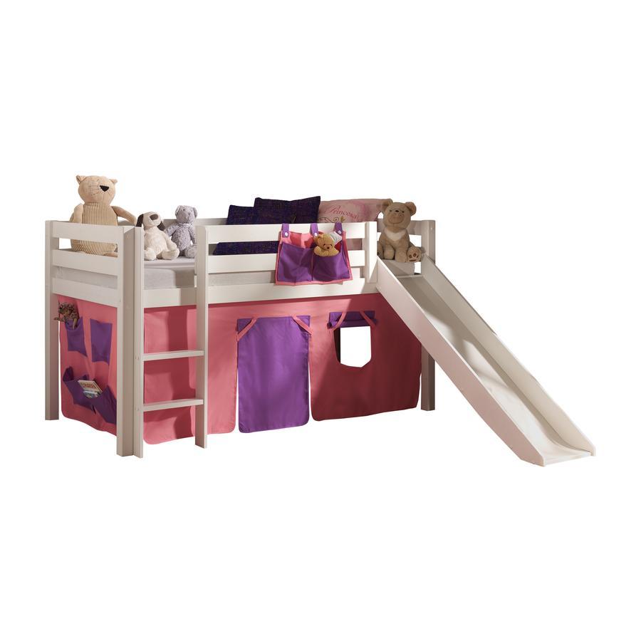 VIPACK Dětská postel se skluzavkou Pino nature se závěsem Bella