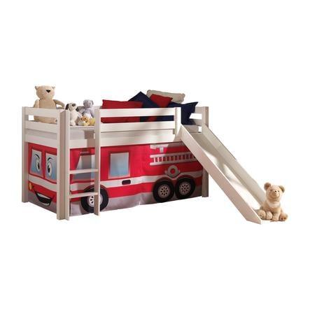 VIPACK Łóżko na antresoli ze zjeżdżalnią Pino biały Zasłona Straż pożarna