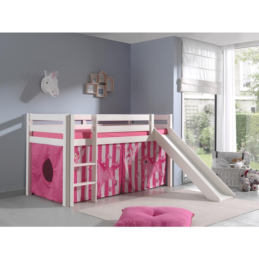 VIPACK Dětská postel se skluzavkou Pino bílá se závěsem koně