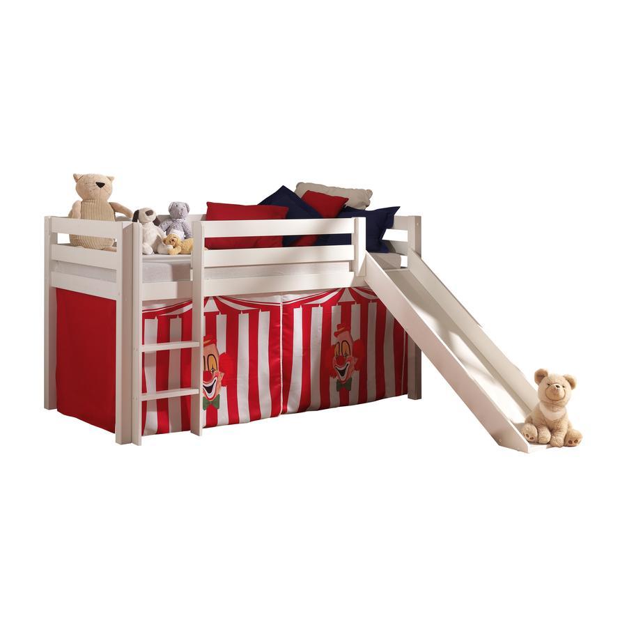 VIPACK Dětská postel se skluzavkou Pino bílá se závěsem cirkus