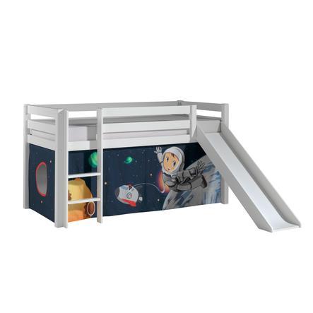 VIPACK Dětská postel se skluzavkou Pino bílá s závěsem Spaceman