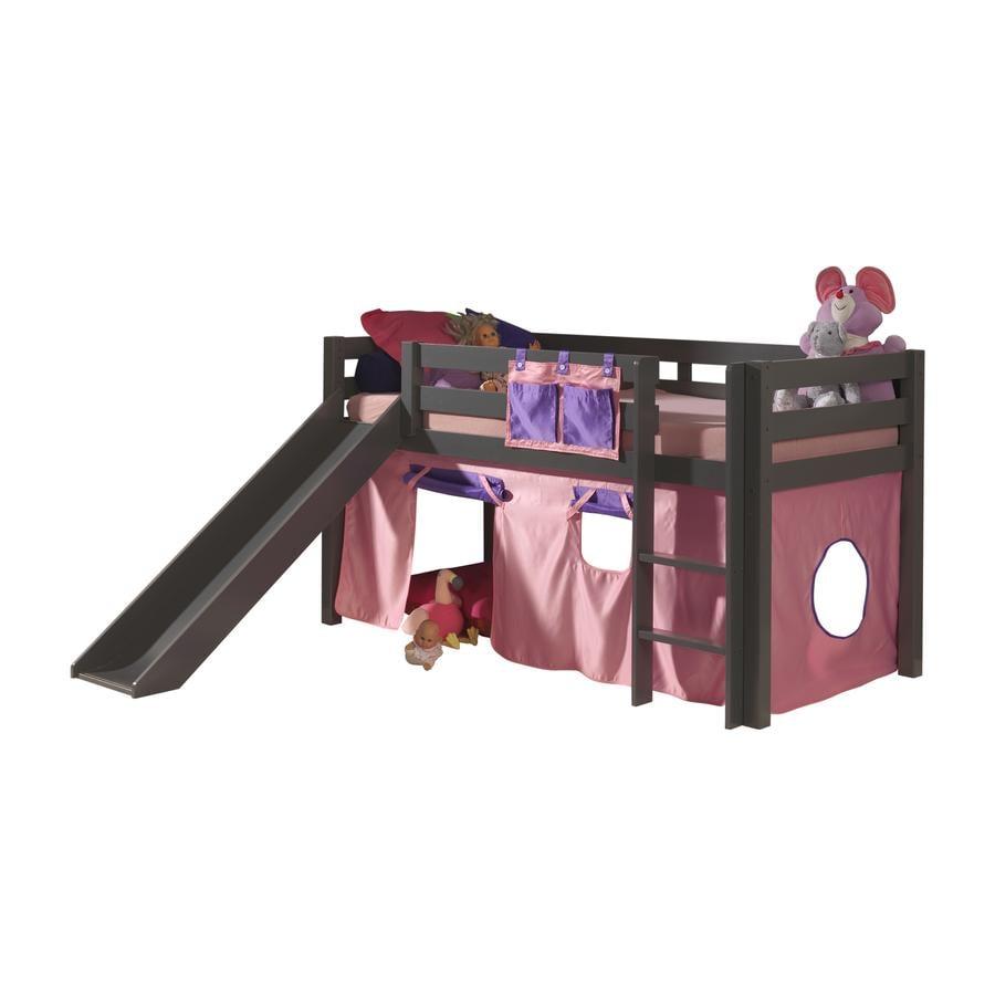 VIPACK Dětská postel se skluzavkou Pino taupe se závěsem Bella