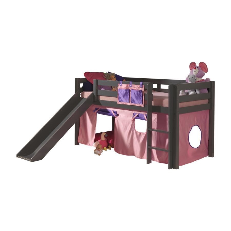VIPACK Spielbett mit Rutsche Pino taupe Vorhang Bella