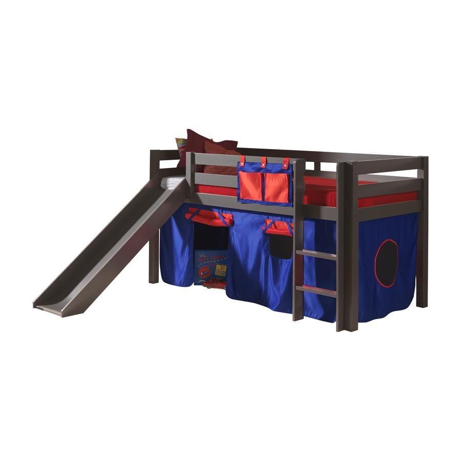 VIPACK Spielbett mit Rutsche Pino taupe Vorhang Dominos