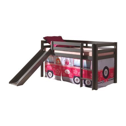 VIPACK Spielbett mit Rutsche Pino taupe Vorhang Flower-Bus