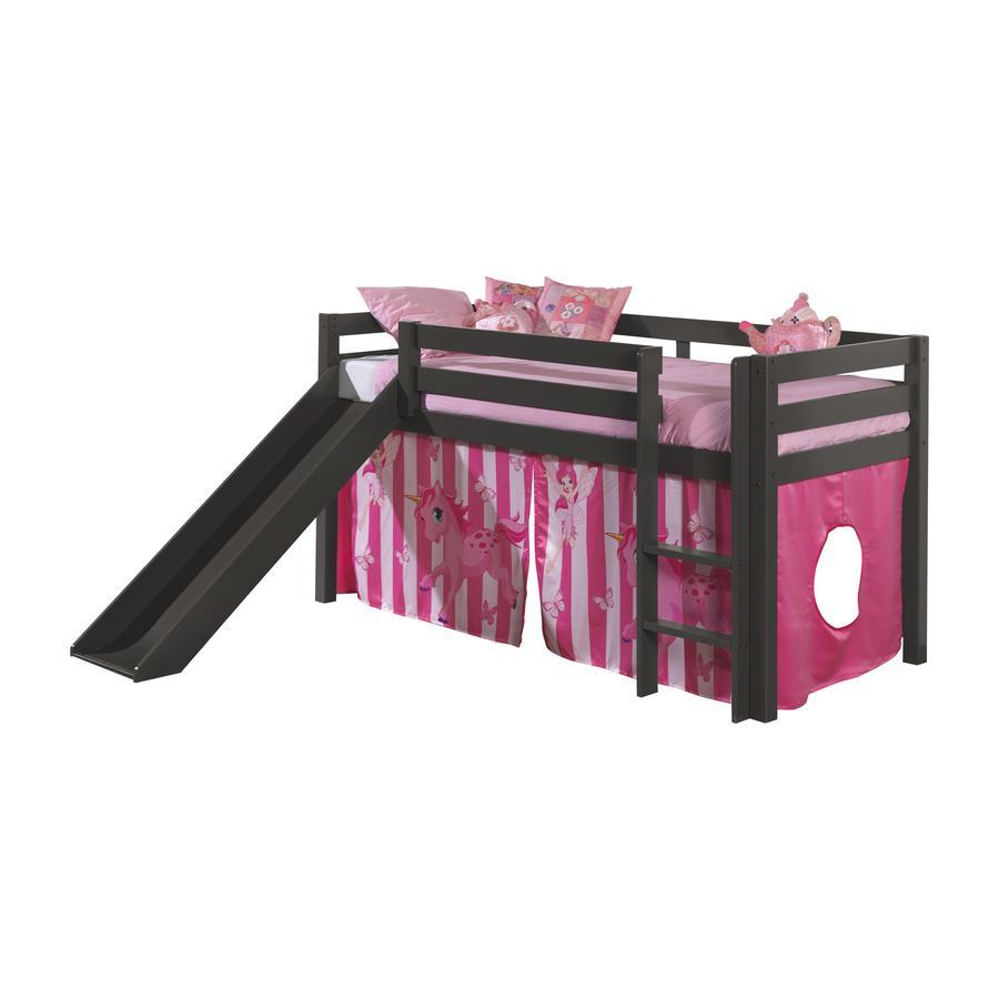 VIPACK Spielbett mit Rutsche Pino taupe Vorhang Pferde