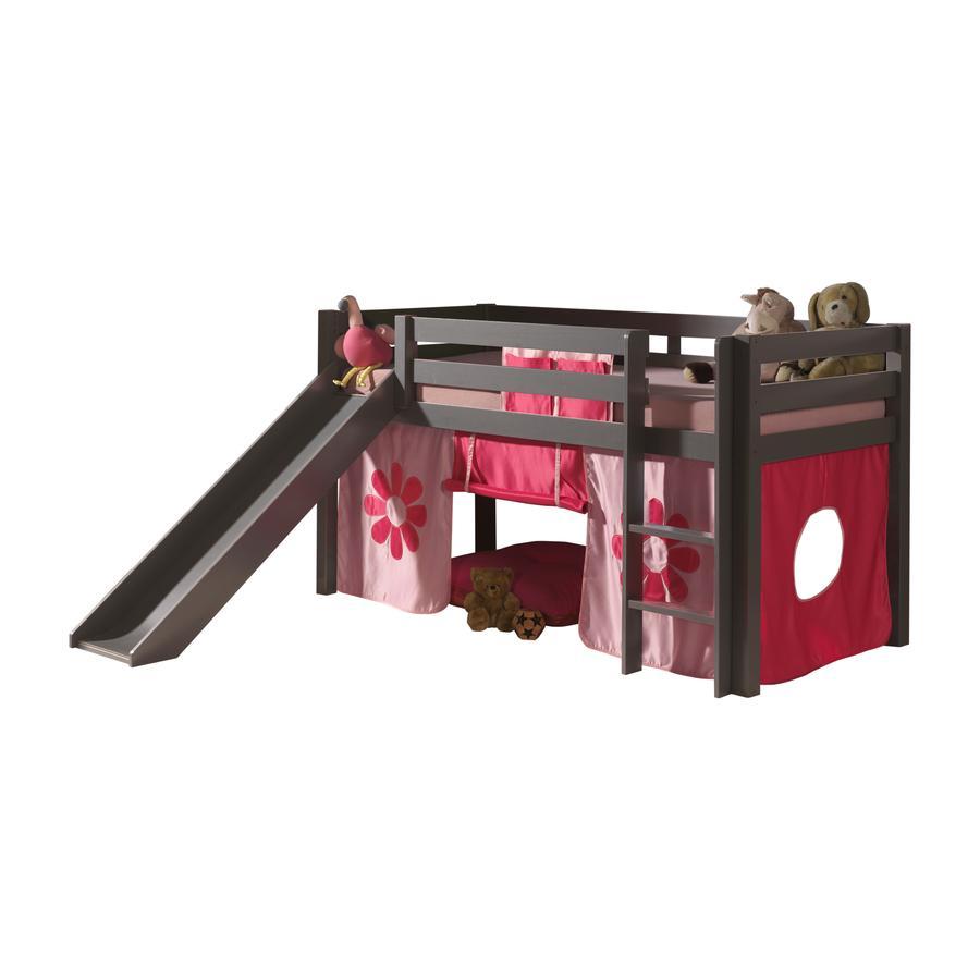 VIPACK Spielbett mit Rutsche Pino taupe Vorhang Pink Flower