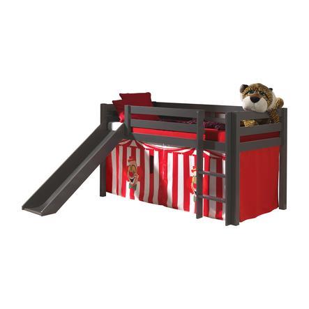 VIPACK Spielbett mit Rutsche Pino taupe Vorhang Zirkus
