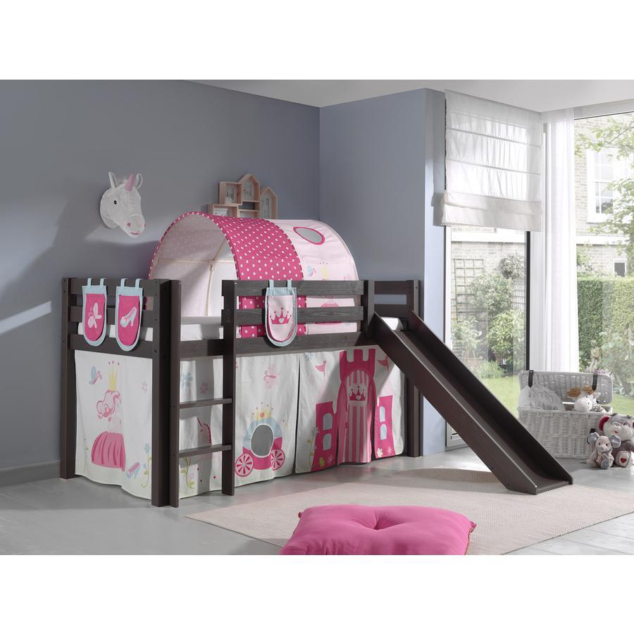 VIPACK Spielbett mit Rutsche Pino taupe Vorhang, Taschen und Tunnel Princes