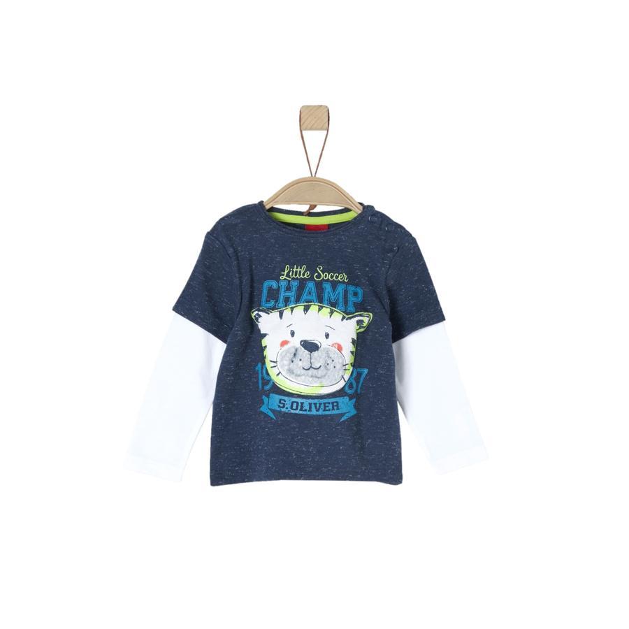 s.Oliver Boys Koszula z długim rękawem, ciemnoniebieski melange