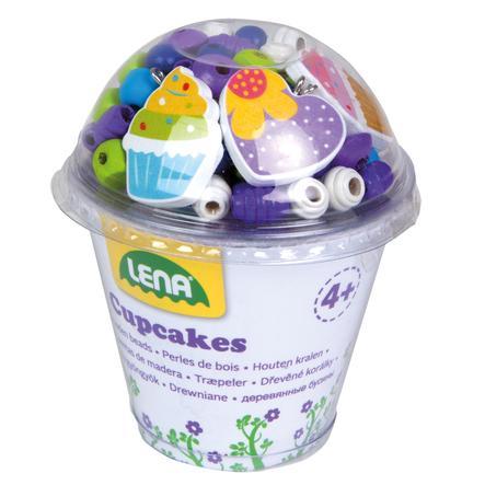 LENA® Houten kralen Cupcakes, blauw
