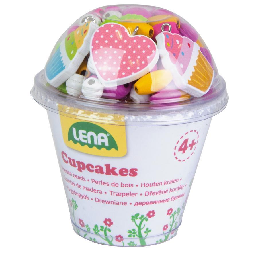 LENA® Jeu perles bois cupcakes, rose