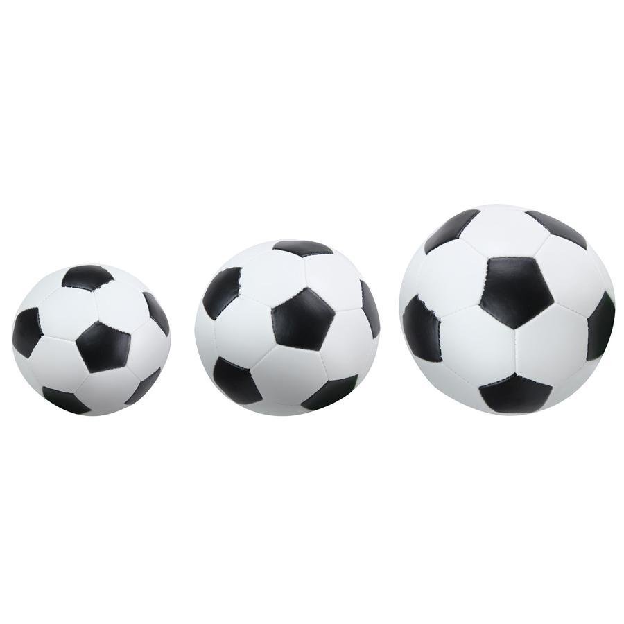 LENA® Set de pelotas suaves de fútbol 3 unidades negro/blanco