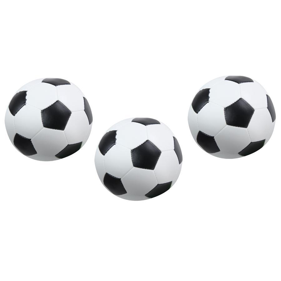 LENA Bløde fodboldsæt af 3 sort / hvid 10 cm