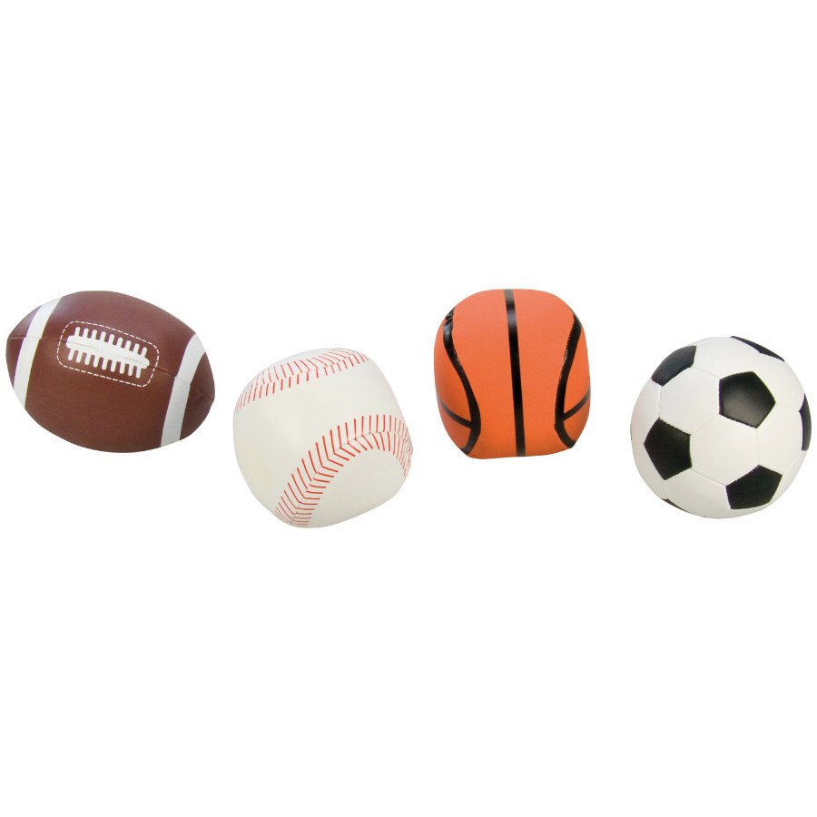 LENA® Soft-Voetballen Set van 4, zwart/wit
