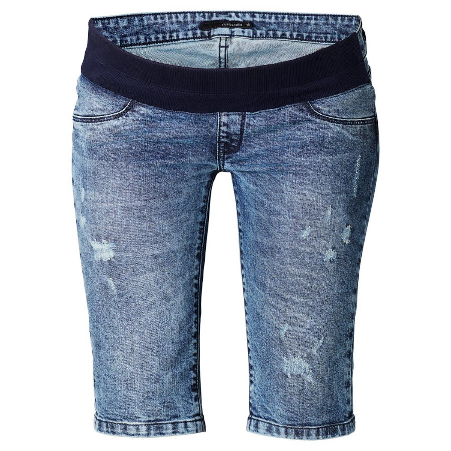 SUPERMOM Umstandsjeans Capri Destroyed