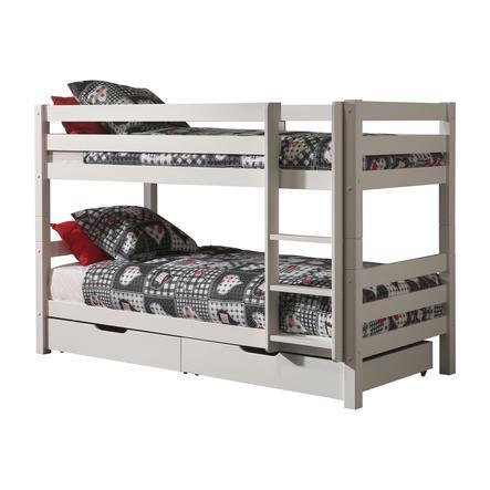 VIPACK Łóżko piętrowe z szufladami Pino biały