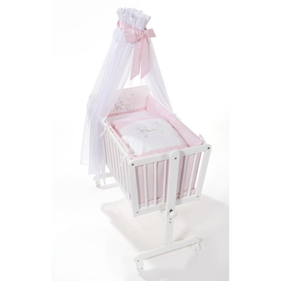 easy baby Culla a dondolo con ruote e biancheria Bear pink stars