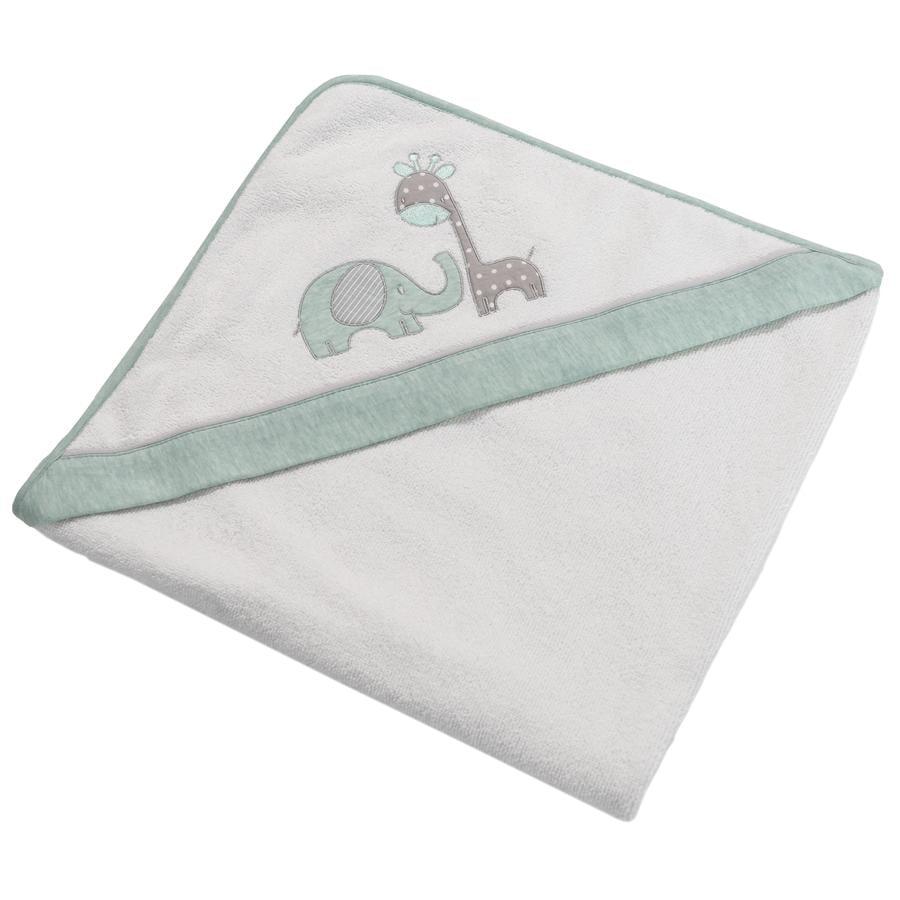 BeBes Collection Serviette de bain capuche Max&Mila vert menthe 80x80 cm