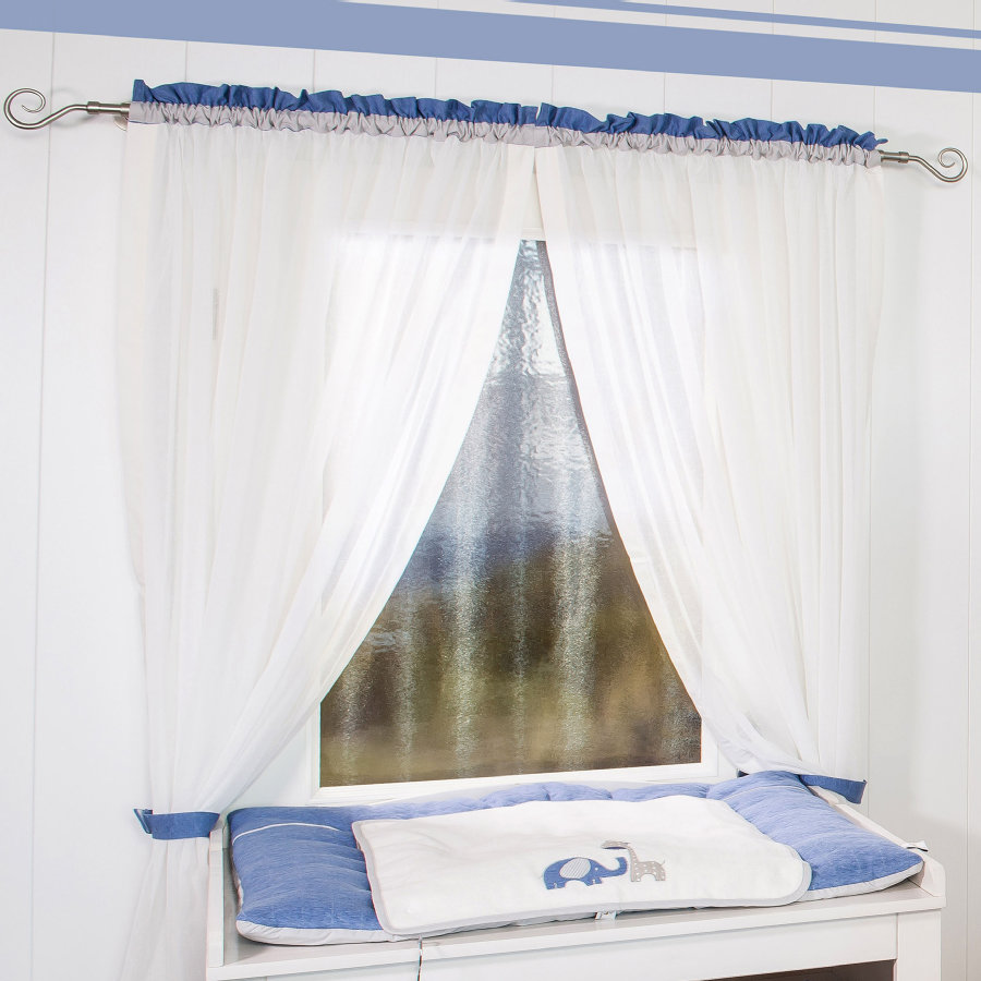 Be Be 's Collection Vorhang 2 Schlaufenschals Max & Mila blau 100 x  240 cm