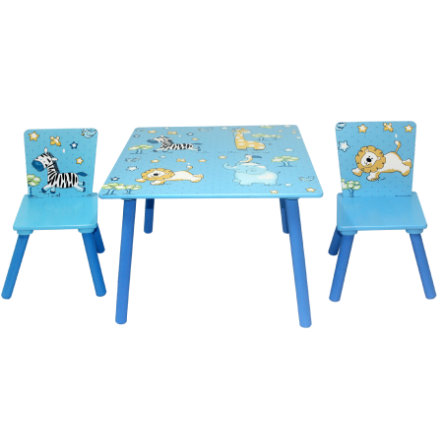 Bieco Kit Table 2 Chaises Enfant Animaux De La Jungle Bleu