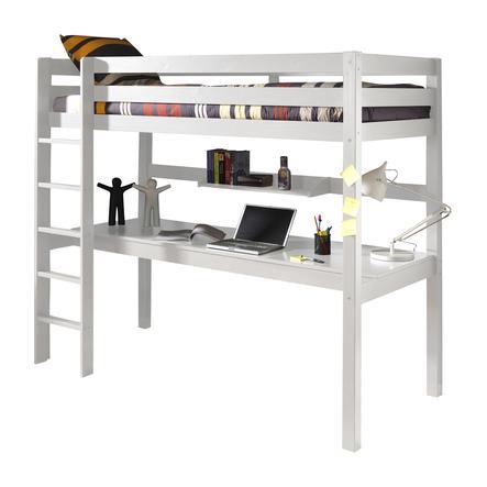 VIPACK vysoká postel s psacím stolem a policí Pino bílá