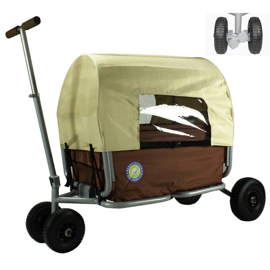 BEACHTREKKER Bollerwagen - Faltbarer Bollerwagen LiFe, braun mit Feststellbremse und Verdeck
