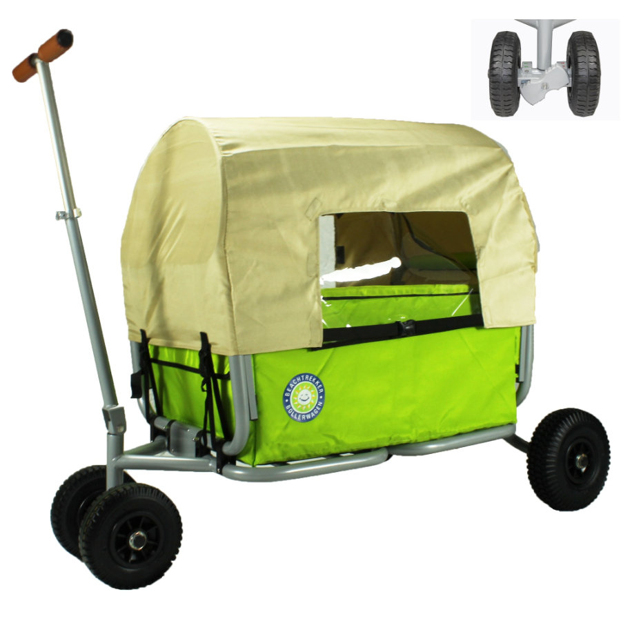 BEACHTREKKER Bollerwagen - Faltbarer Bollerwagen LiFe, grün mit Feststellbremse und Verdeck