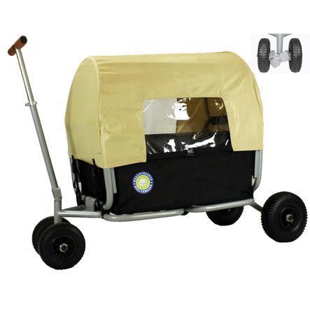BEACHTREKKER Chariot de transport à main enfant pliable LiFe noir, frein de blocage, toit