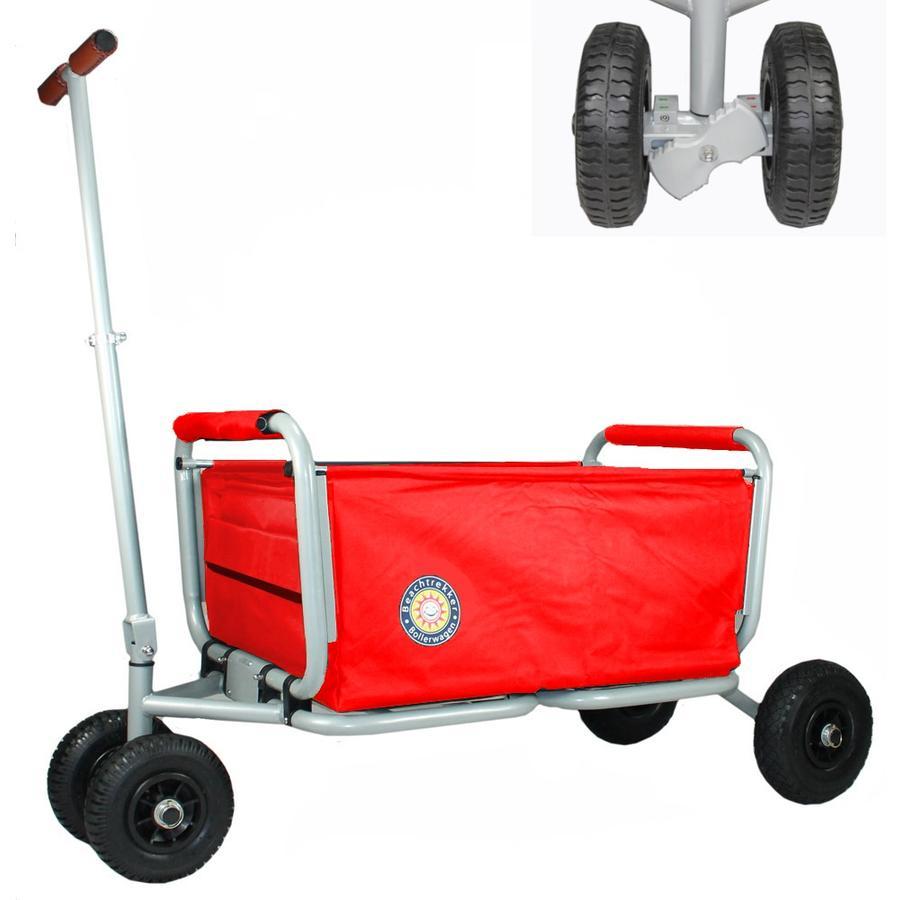 BEACHTREKKER Carretilla de mano plegable LiFe, rojo con freno de estacionamiento