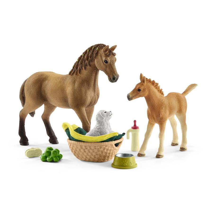 Schleich Set hříbě a Quarter kůň se štěňátkem a doplňky 42432