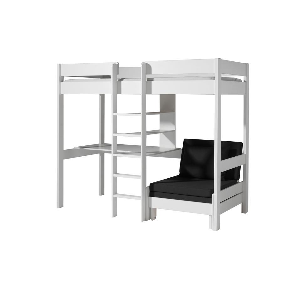 VIPACK Łóżko piętrowe na antresoli z fotelem Pino biały