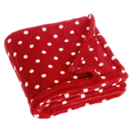 Playshoes Fleece-Decke 75x100cm Punkte rot