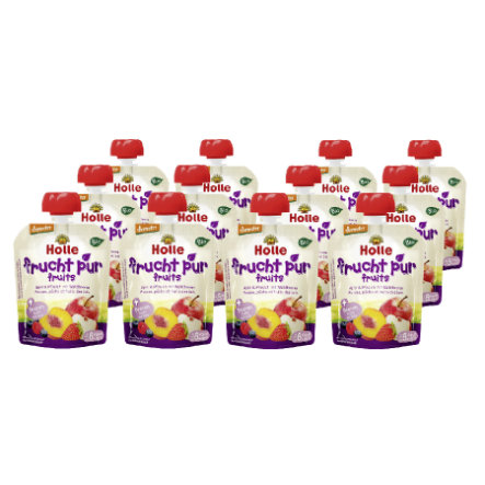 HOLLE Pouchy Apple & Peach with Berries 12x90g