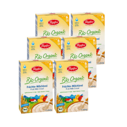 TÖPFER Bio Fruit Milk Mash, Apple, Banana, Orange 6 x 200g