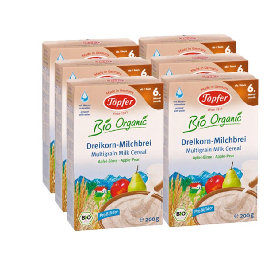 TÖPFER Bio Three Cereal Milk Mash Apple-Pear 6 x 200g