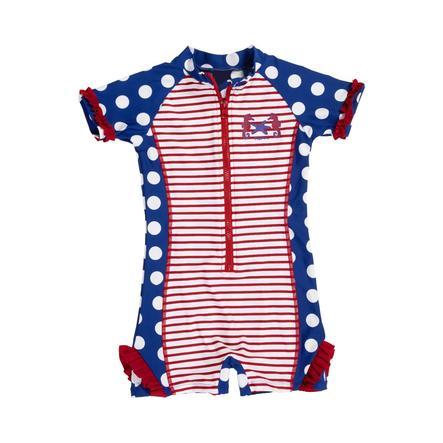 Playshoes Costume intero bambina con protezione UV Cavalluccio marino blu/bianco