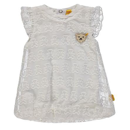 Steiff Girls Šaty s křídlovými rukávy, bílé