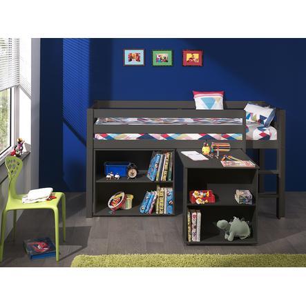 VIPACK dětská postel s psacím stolem a regálem Pino šedá