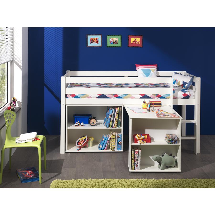 VIPACK Spielbett mit Schreibtisch und Regal Pino weiß