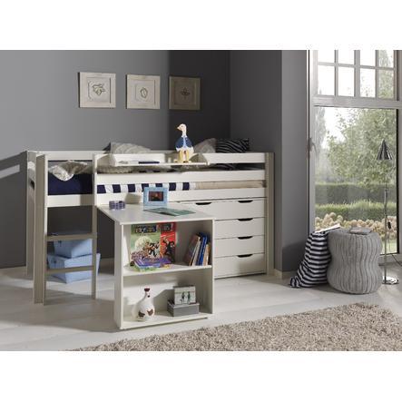 VIPACK Spielbett mit Schreibtisch, Hängeregal und Schubladenkommode Pino weiß